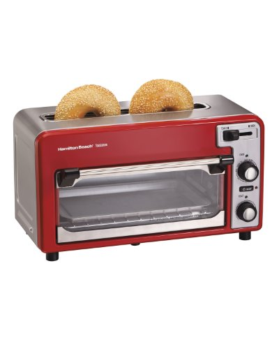 Hamilton Beach Toastation Oven with 2-Slice Toaster Combo, Ideal for Pizza, Chicken Nuggets, Fries and More, Red (22722)