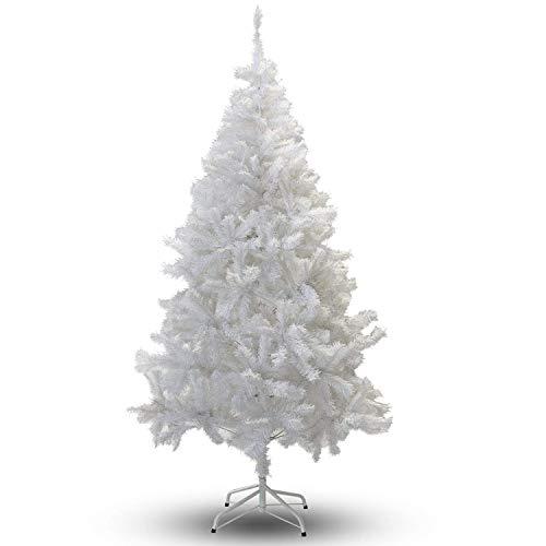 VINGO Árbol de Navidad artificial de PVC, 150 cm, aprox. 350 cm, color blanco, con soporte de plástico