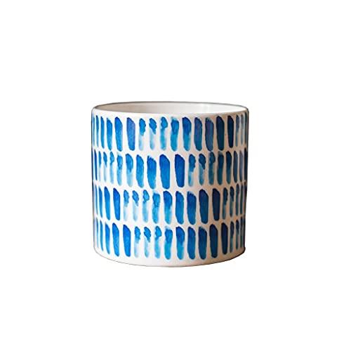 XIAOSAKU Maceteros Exterior Pequeña Maceta Cerámica Flor de cerámica Home Sala de Estar Café Mesa de Centro Oficina Decoración de Escritorio Flor Pot Blue Printing Pot Maceteros Decorativos Interior
