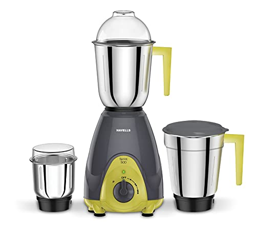 Havells Sprint Mixer Grinder, 500W, 3 Jars (Grey/ Green)