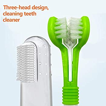 RBNANA Lot de 4 brosses à dents pour chien avec 3 brosses à dents en silicone, soins dentaires pour animaux domestiques, brosse à dents à triple tête pour nettoyage des dents