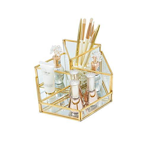 HARLIANGXY - Make up Organizer - Kosmetikorganiser - Beauty Organizer Tray - Schmuck Pinselhalter Gold - Glas Kosmetikbox - Klar Dekoratives Tablett - Schmink Aufbewahrung
