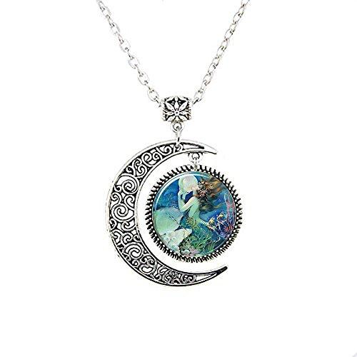 Meerjungfrau Anhänger, Meerjungfrau Halskette, Mermaid Moon Schmuck, Moon Halskette Glas Art Bild