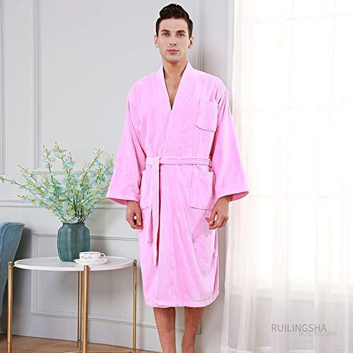 YSKDM Hotel de 5 Estrellas 100% algodón Hombres Kimono Toalla Albornoz Talla Grande Bata de baño Hombre Sudor Terry Batas Mujer Bata Larga Ropa de Dormir, Hombres Rosa, XL