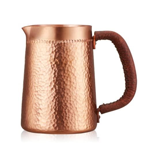 YINOX 1 unid 400 ml puro cobre hecho a mano en relieve jarra de leche/jarra Latte Art jarra de té para barista