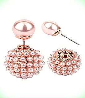 Earrings For Women Pale Peach Pearl Pave Double Sided Front Back Pierced Earrings For Women