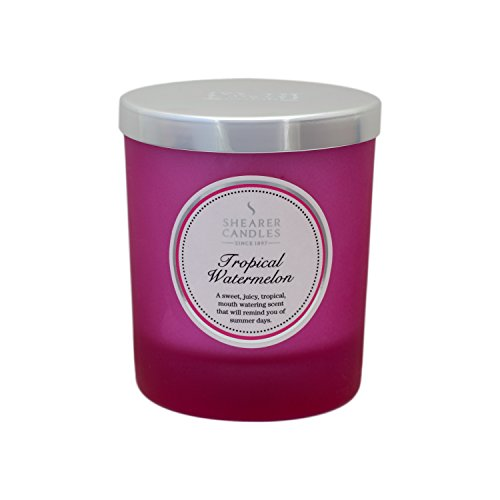 Shearer Candles Tropical Watermelon Scented Jar Candle with Silver Lid-Pink