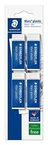 STAEDTLER confezione da 4 gomme per cancellare Mars Plastic, colore bianco, senza ftalati né lattice, ottime prestazioni e lunga durata, 52650BK4DA
