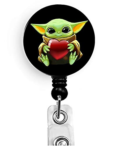 BeAwesome Cute Grogu Baby Yoda Nurse Badge Reel with Alligator Clip - Mandalorian Child Retractable Name Card ID Badge Holder, Office Employee Name Badge (Baby Yoda Holding Heart)