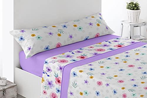 Juego de sábanas Estampadas de Microfibra Transpirable Mod. Ceuves (Disponible en Varios tamaños y Colores) (Malva, Cama de 105 cm (90_x_190/200 cm))