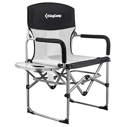 KingCamp Heavy Duty Compact Camping Folding Mesh Chair with Side Table and...