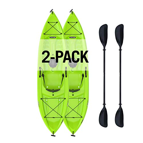 Tioga Sit-On-Top Kayak with Paddle (2 Pack), Lime, 120
