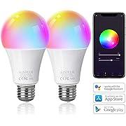AISIRER Smart Lampe WLAN Glühbirnen Wifi LED RGBW Birne Kompatibel mit Amazon Alexa Echo,Echo Dot Google Home Kein Hub Erforderlich Dimmbares Mehreren Farben E27 (2 Stück)