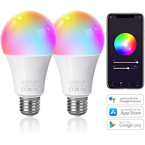 AISIRER Smart Lampe WLAN Glühbirnen E27 Wifi LED RGBW Birne Kompatibel mit Amazon Alexa Echo,Echo Dot Google Home, Dimmbares warmweiß, Mehreren Farben Farbige Leuchtmittel 2 Stück, kein Hub benötigt