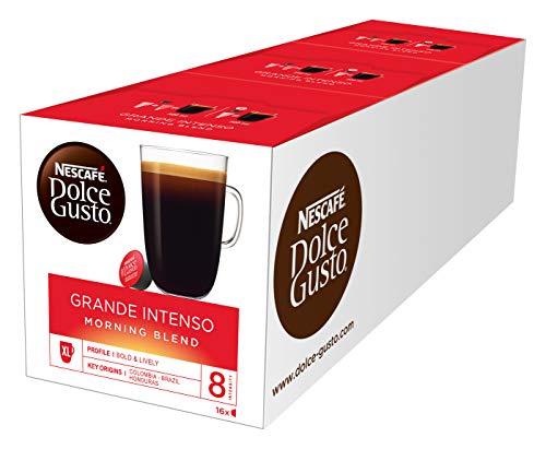 NESCAFÉ Dolce Gusto Grande Intenso Morning Blend (48 Kaffeekapseln, 100{af71bcf5cd88dceb974801840a041a1a4bf51da06265aabffca942266868e96a} edle Arabica Bohnen, Frühstückskaffee, für XL Kaffeebecher, Aromaversiegelte Kapseln) 3er Pack (3 x 16 Kapseln)
