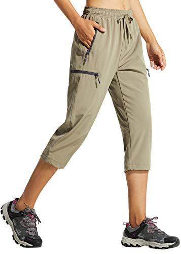 Libin Women's Quick Dry Hiking Capri Pants Lightweight Cargo Cropped Pants Water Resistant Outdoor Casual, Khaki S