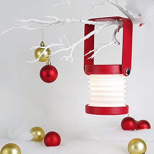Lámpara de Mesa Lámpara Linterna Luces retráctiles Plegables LED lámparas de Mesa de Carga USB Dormitorio Lectura de Noche Luces de Noche (Color : Red)