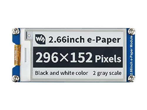 Waveshare 2.66inch E-Paper E-Ink 296×152 Pixels Display Module,Support Partial Refresh, Black/White Dual-Color with SPI Interface