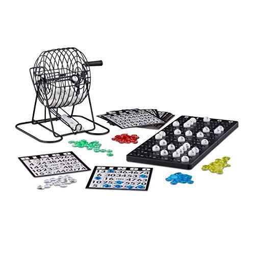 Relaxdays Bingo Spiel mit Metalltrommel HxBxT: 20 x 17,5 x 21,5 cm Bingotickets, Loskugeln, Chips, Spielbretter, schwarz