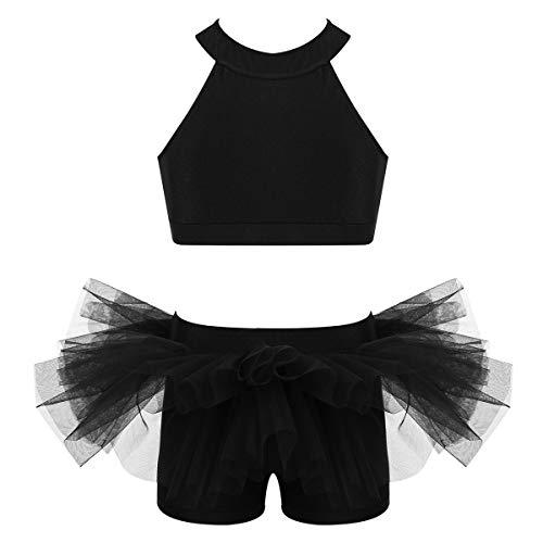 Yeahdor Kids Girls Two Piece Set Ballet Jazz Dance Costume Gymnastic Outfit Crop Top with Shorts Pantskirt Dancewear Black 6