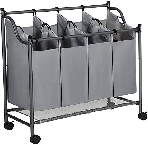 Swadal Cesto para la ropa sucia con ruedas, clasificador de ropa con 4 bolsas de tela extraíbles, para detergente y juguetes (gris)