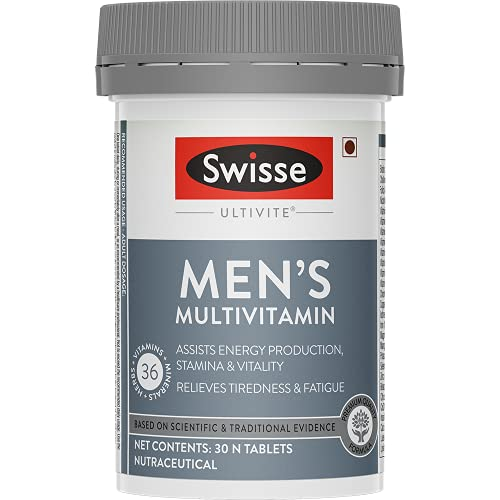 Swisse Ultivite Men's Multivitamin Supplement (with 36 Herbs, Vitamins & Minerals) for Immunity, Relieving Fatigue & Tiredness and Assisting Energy, Stamina & Vitality Production – 30 Tablets