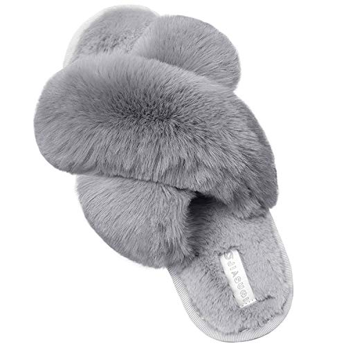 JIASUQI Women's Cross Band Fuzzy House Slippers Soft Plush Furry Faux Fur House Indoor Outdoor Slippers for Women Grey 8-9