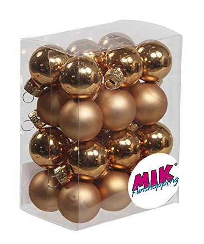 MIK Funshopping Christbaumschmuck Mini-Weihnachtskugeln aus Glas (Durchmesser: 25mm - Packungseinheit: 24 Stück, Kupfer matt & glänzend Sortiert)
