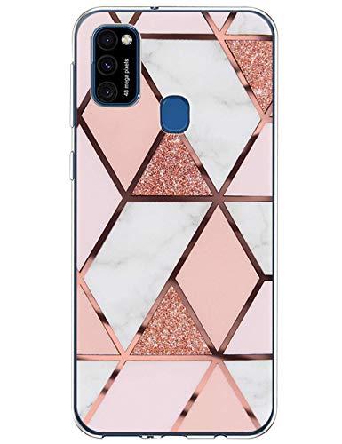 Croazhi Galaxy M31 Hülle Cover Schutzhülle Kompatibel mit Samsung Galaxy M31 Hülle Handyhülle Silikon Transparent Glitzer Marmor Rosa Blumen Muster Original Design Hüllen Tasche für M31 Handy