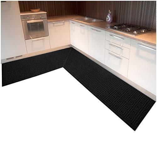 ARREDIAMOINSIEME-nelweb Tappeto Cucina Angolare su Misura Bordato Tessitura 3D Retro Antiscivolo Contattare Venditore per Info MOD.Evita ANGOLARE 10cm Nero