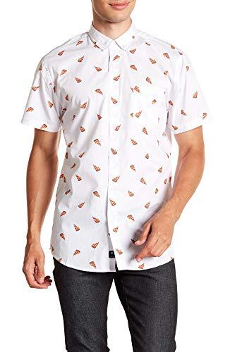 Visive Mens Hawaiian Shirt Short Sleeve Button Down Shirts (Pizza,Small)