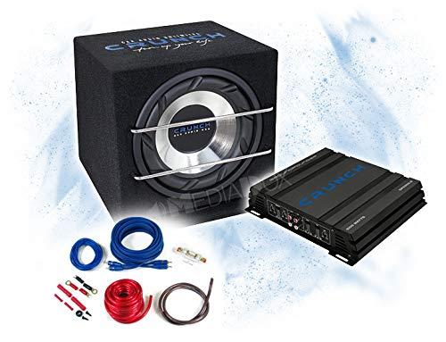 CRUNCH Amplificateur 2 canaux avec caisson de basses de 25 cm et kit de câbles - 500 W / CRB-250 + GPX-500.2 + REN10KIT