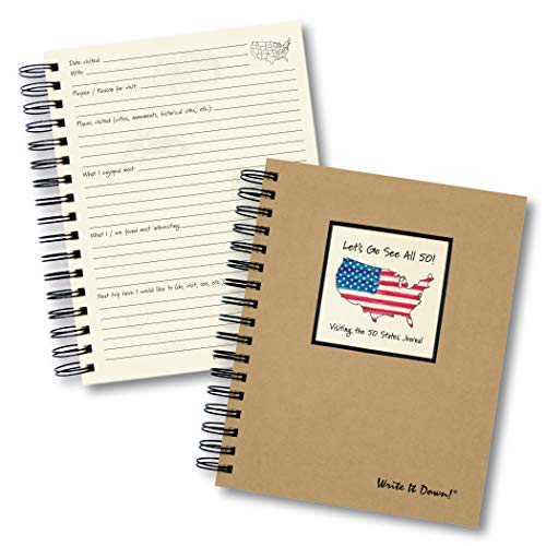 Journals Unlimited 'Write it Down!' Series Guided Journal, Let's Go See All 50! Visiting The 50 States Journal, with a Kraft Hard Cover, Made of Recycled Materials, 7.5'x 9'