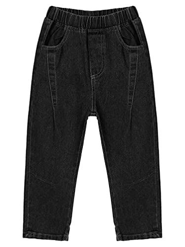 Moily Toddler Little Boys Casual Pants Ripped Denim Pants Jeans Elastic Waist Trousers Fall Winter Outfits Black 4-5 Years