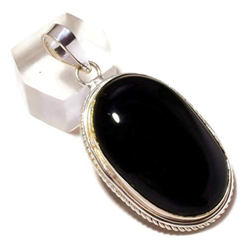 Jewels House Cabujón Negro Onyx Oval Piedra Piedra Colgante Hecho a Mano Negro