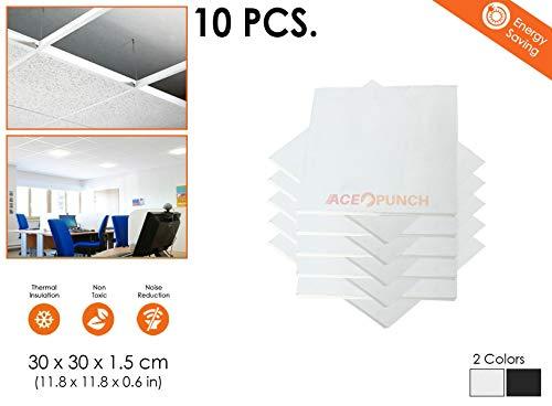 Acepunch 10 pieces WEISS 30 x 30 x 1 cm Glasfaser Akustisch Deckenplatten Abgehängte Decke AP1174
