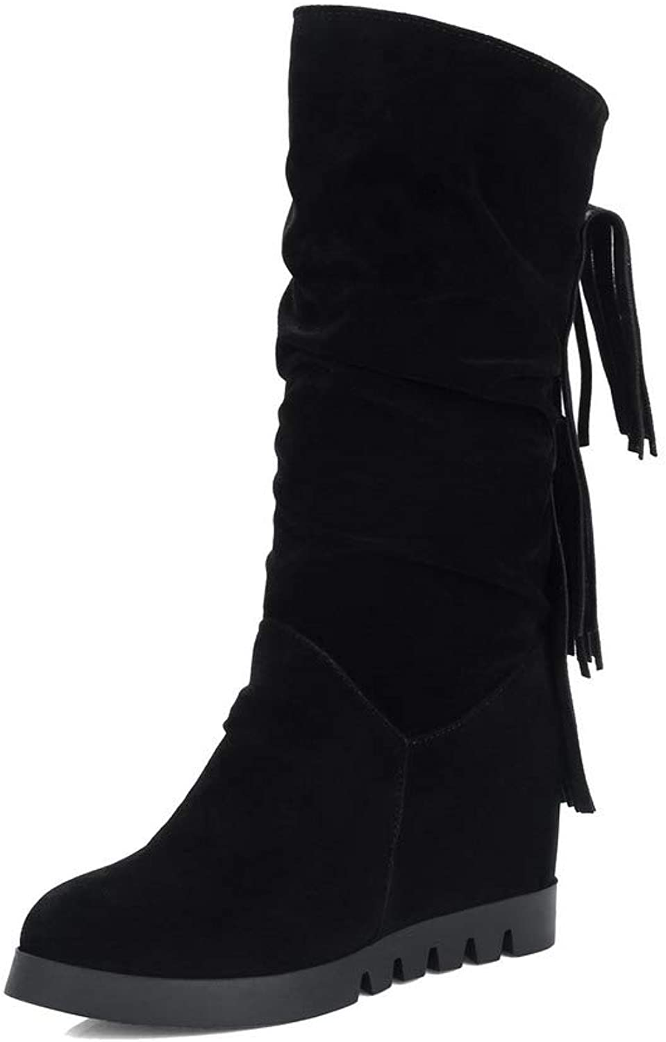AllhqFashion Women's Low-Top Pull-On Frosted High-Heels Closed-Toe Boots, FBUXD027887