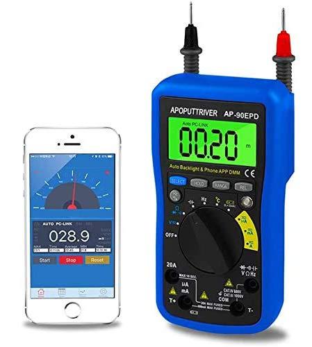 Multímetro DigitalAP-90EPD Medidor Digital Remoto Automático, Medición de Voltaje AC/DC,Corriente,Resistencia, Temperatura, Frecuencia, Ciclo de Trabajo, Almacenamiento de Datos, Retroiluminación