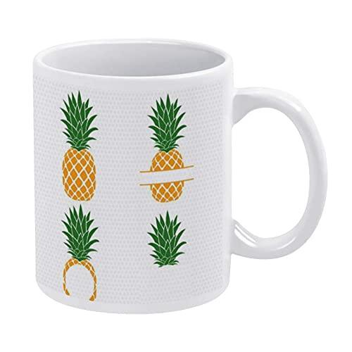 N\A Taza de Pino A-pple Taza de café con Monograma de Pino A-pple Taza de té novedosa Divertida Taza de Verano para Hombres y Mujeres