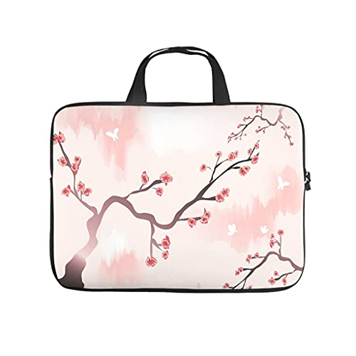 Funda para portátil con diseño de flores de cerezo japonés, a prueba de polvo, para universidad, trabajo, negocios, personalizable, regalo, Blanco, 12 pulgadas,