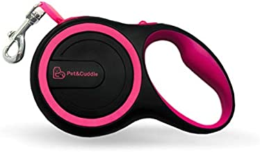 Retractable Dog Leash, 16 ft Dog Leash for S to L Dogs Up to 110 lbs, Easy Single Lock/Release Button and Ergonomic Handle, Heavy Duty Tangle-Free Nylon Ribbon Leash - (Small/Medium, Black+Pink)