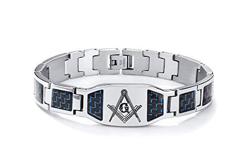 VNOX Vikingo/Masónico/Brújula vikinga/Jesús/Cruz/Cruz Celta/OM/Caballeros Templarios Símbolo Hombre Acero Inoxidable Azul Negro Pulsera de Fibra de Carbono Ajustable