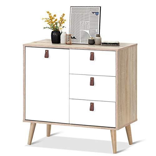 COSTWAY Konsolenschrank mit verstellbarem Regal, Sideboard mit 3 Schubladen, Beistellschrank Kommode Mehrzweckmöbel