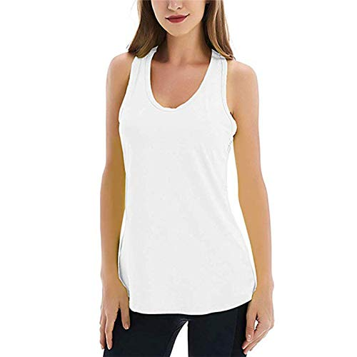 Workout Running Tank Top Yoga Vest Tops For Women UK Sleeveless Racerback Exercise Top Gym Shirts Athletic Fitness Sportwear (White, Large)