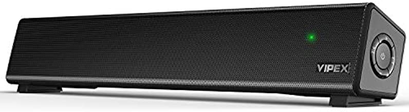 Computer Speakers - Bluetooth 5.0 PC Speakers Sound Bar, Powerful Deep Bass Stereo Small Soundbar Speaker for TV, PC, Smartphone, Tablet and Laptop, Wireless and AUX-in Connection, Wall Mountable
