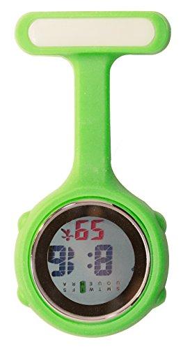 Ellemka - Krankenschwestern Pfleger Chefs | Digitale Anzeige Ansteckuhr Taschenuhr | Digitales Quarzuhrwerk | Hängeband aus Silikon mit Pinnadel | NS-888 - Grün Green Light OVP
