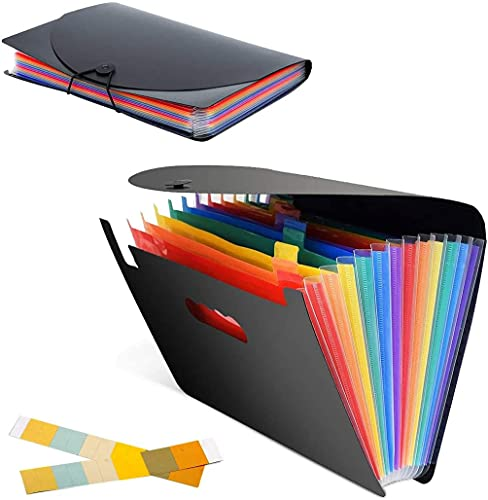 Carpeta extendida, carpeta A4 de 12 bolsillos, administrador de archivos de oficina, caja de archivos de acordeón vertical, arco iris, plástico impermeable, apto para oficina/negocios/escuela