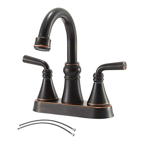 IKEBANA Best 2 Handles Oil Rubbed Bronze Bathroom Faucet,Commercial Black 2 Holes Bathroom Sink Faucet,4 Inch Centerset Lead-Free Bath Lavatory Vanity Sinks Faucets Set With Hoses