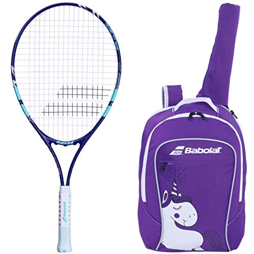 """Babolat B'Fly 25"""" Inch Child's Tennis Racquet/Racket Kit or Set Bundled with a Purple Junior Tennis Backpack (Best Back to School Gift for Boys and Girls)"""