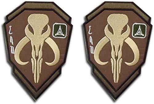 Mandalorian Mythosaurier Totenkopf Wappen Boba Fett Shield Patch, Taktische Morale bestickte Applikation Abzeichen mit Verschluss Haken und Schleife Rückseite 10 x 7 cm (Khaki)